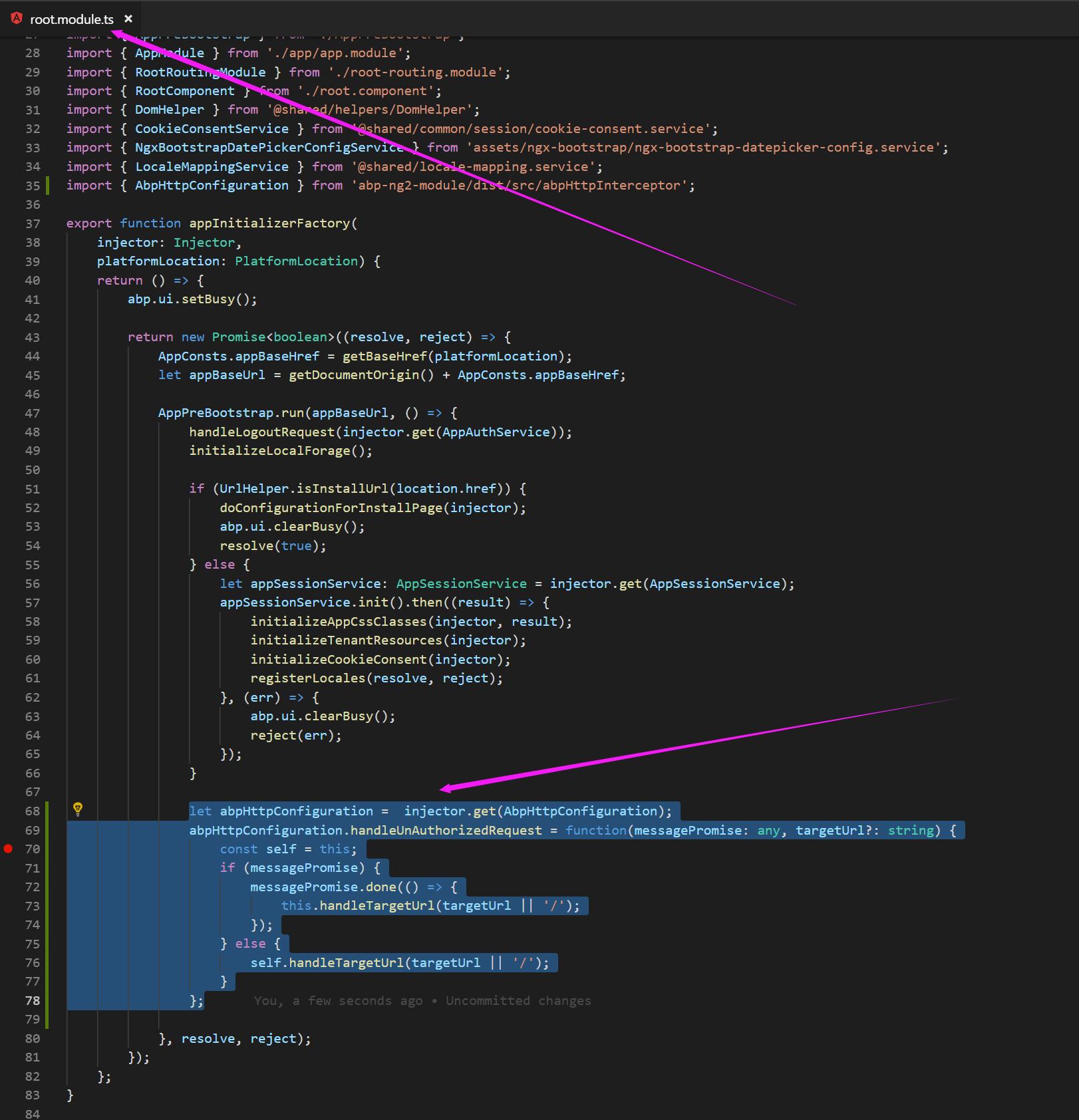 Angular 6: Override @abp/abpHttpConfiguration