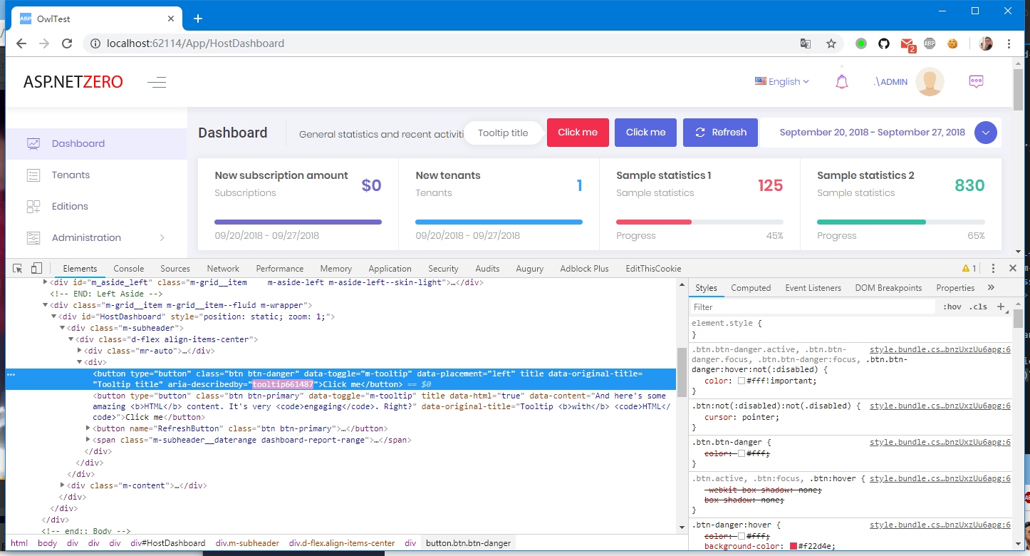 Metronic Theme and Tooltips #5661 | ASP NET Zero Support